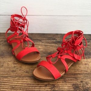 Just Fab Lissi Red Gladiator Sandals Size 7